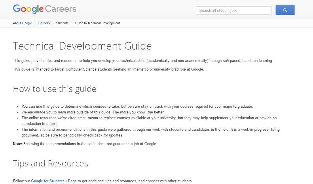 Google Technical Development Guide