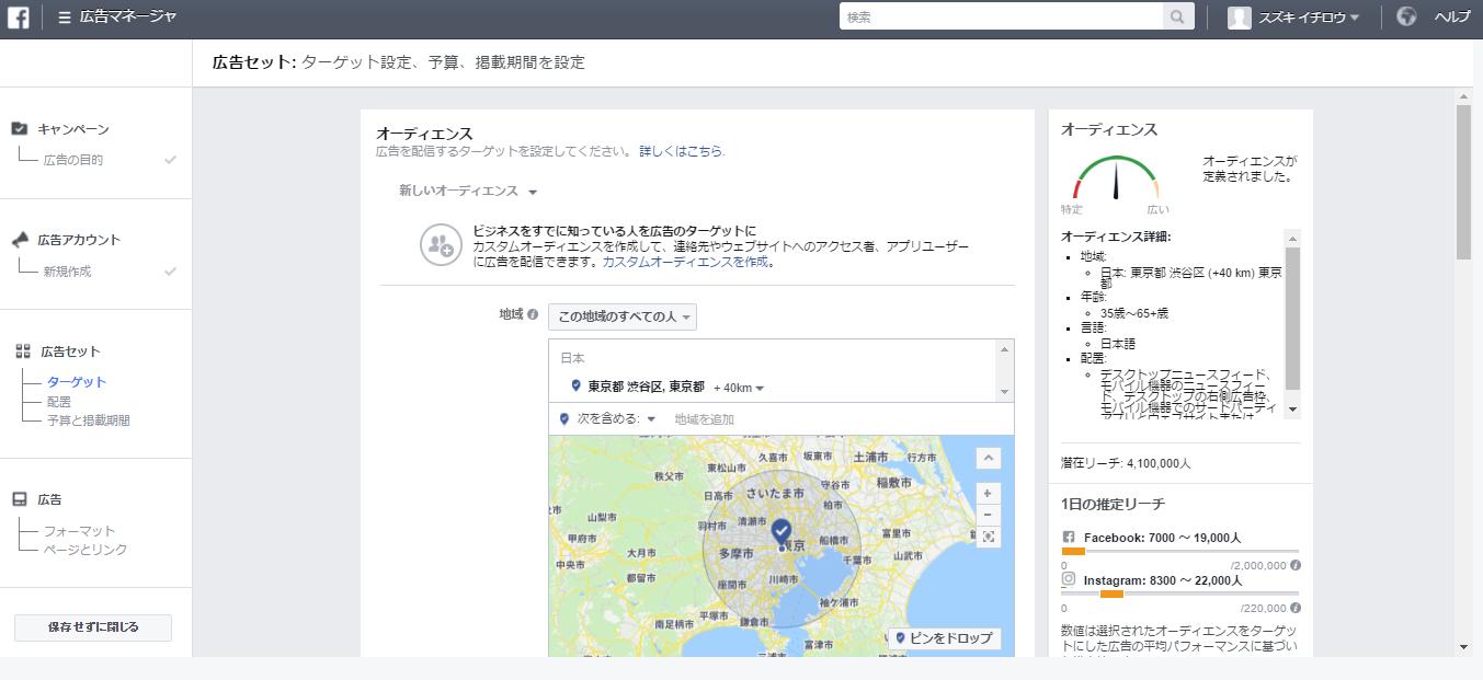 facebook広告 管理画面