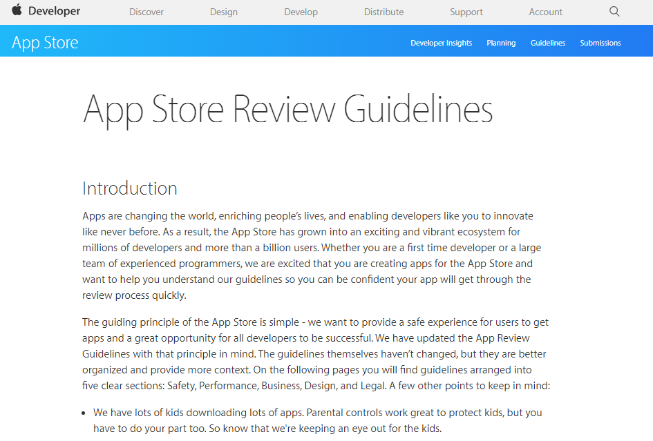App Store Review Guidelines(App Storeレビューガイドライン)