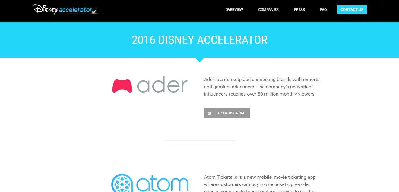 Disney Accelerator Program(ディズニー)