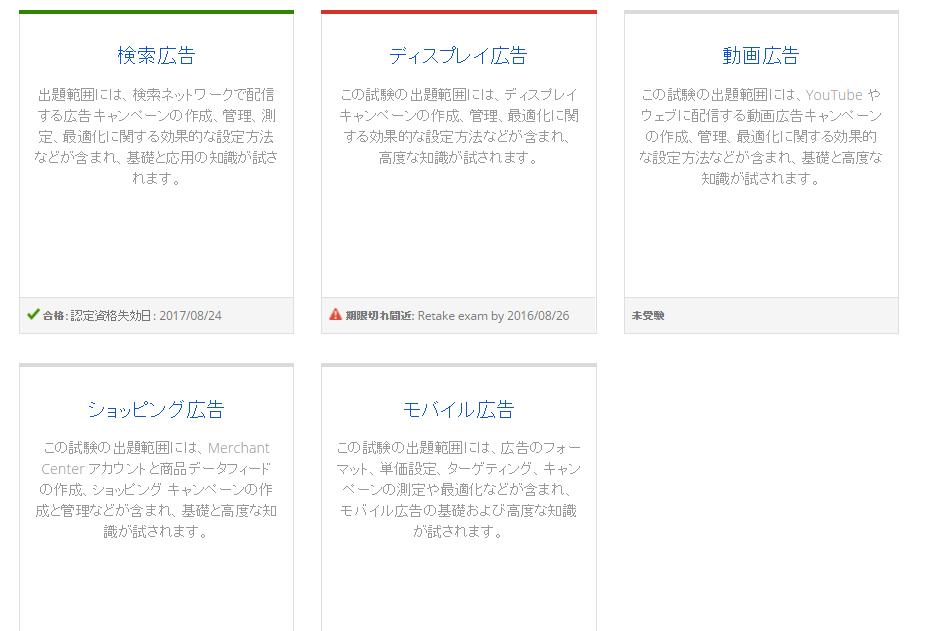 GoogleAdWords認定資格取得 試験項目