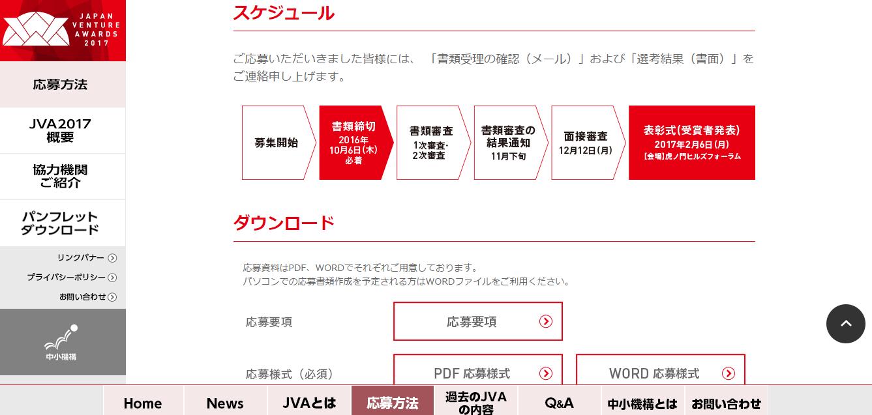 起業家の登竜門。JAPAN VENTURE AWARDS(スケジュール)